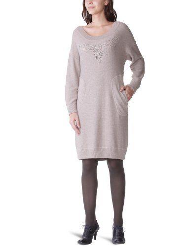 Derhy - Vestido con cuello redondo de manga larga para mujer
