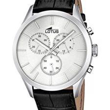Lotus Reloj de cuarzo Hombre Plata con cronógrafo y correa de piel Relojes