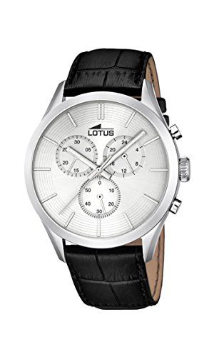Lotus Reloj de cuarzo Hombre Plata con cronógrafo y correa de piel