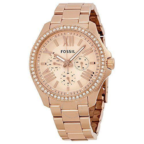 Fossil AM4483 - Reloj de pulsera para Mujer, blanco / amarillo