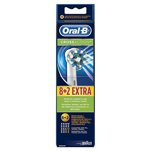 Oral-B CrossAction – Cabezal de recambio, 8 + 2 unidades