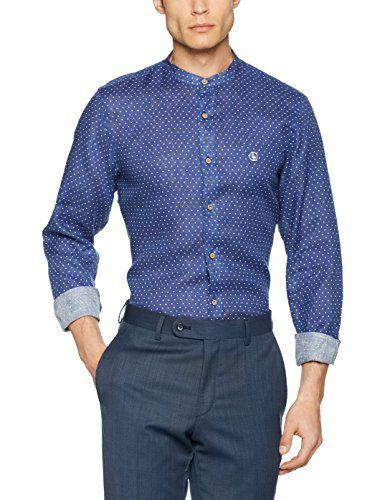 El Ganso Classic Fit Topos Lino, Camisa Casual para Hombre