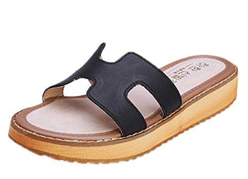 Minetom Mujer Verano Zapatillas Cómodo Tacón Plano Sandalias Moda