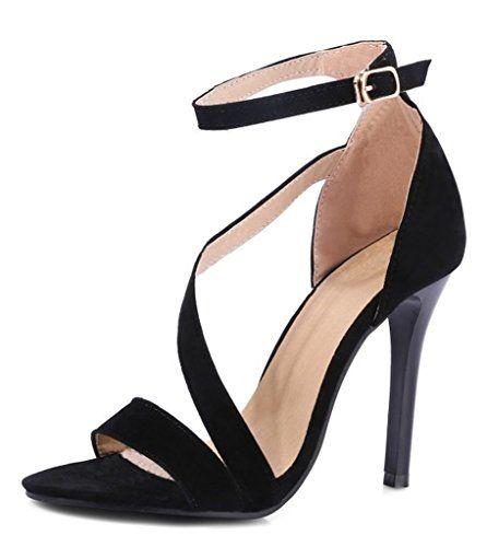 Minetom Mujer Verano Punta Abierta Sandals Sólido Color PU Sandalia