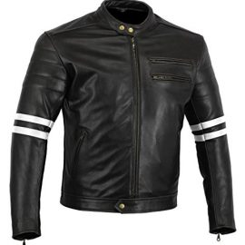 Bikers Gear UK chaqueta moto Cafe Racer en color negro envejecido