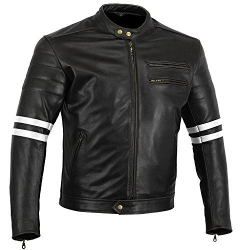 Bikers Gear UK chaqueta moto Cafe Racer en color negro envejecido y
