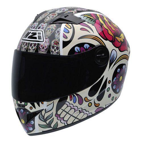 NZI 050264G582 Vital Mexican Skulls Casco de Moto, Diseño Calaveras Ropa para motoristas