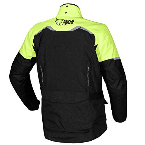 Mens Black/Fluro Textile Motorcycle Motorbike Jacket Waterproof CE