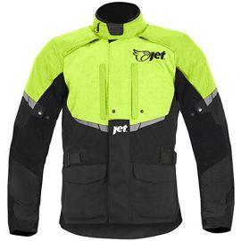 Mens Black/Fluro Textile Motorcycle Motorbike Jacket Waterproof CE