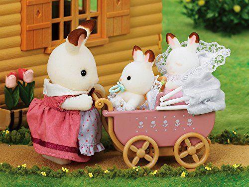 Sylvanian Families – Set Gemelos Conejos Chocolate con cochecito