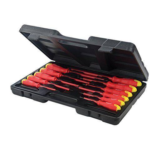 Silverline 918535 Maletín de 11 destornilladores aislados con mango Bricolaje y herramientas
