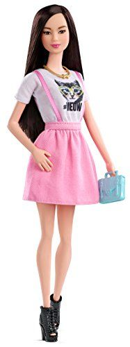 Barbie Fashionista Doll in Pink Dress With White MEOW T-shirt