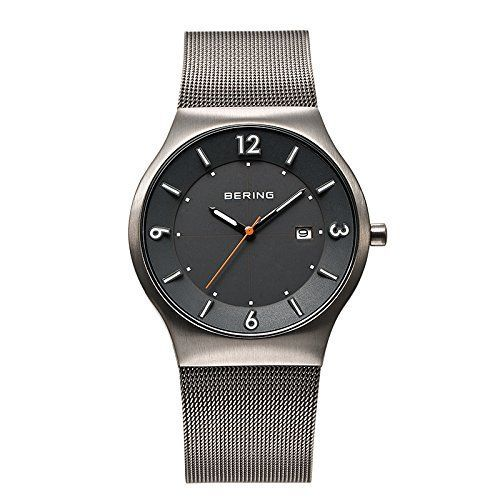 Bering Time Solar - Reloj de cuarzo para hombre, correa de acero