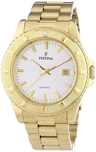 Festina F16682_1 – Reloj Analógico Para Mujer, color Blanco/Oro