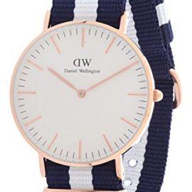 Daniel Wellington Reloj Classic Glasgow OTAN correa de azul y blanco