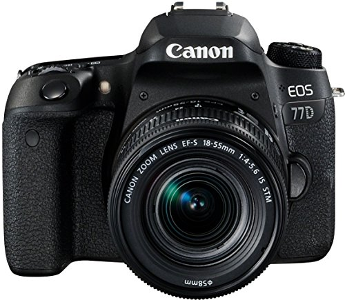 Canon EOS 77D - Cámara réflex de 24.2 MP (vídeo Full HD, WiFi, Bluetooth) negro - kit cuerpo con objetivo EF-S 18-55 IS STM (Producto europeo)