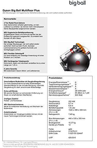 Dyson Big Ball Multifloor Plus - Aspiradora sin bolsa de trineo, 800 W