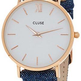 Cluse CL30029 – Reloj Analógico Automático para Mujer con Correa de Cuero, color Azul