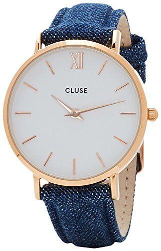 Cluse CL30029 - Reloj Analógico Automático para Mujer con Correa de Cuero, color Azul