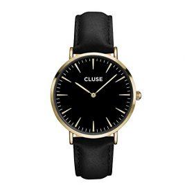CLUSE Reloj de pulsera la bohème Oro Piel Negro