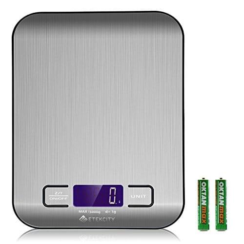 Etekcity EK6015 Báscula Digital para Cocina de Acero Inoxidable, 5kg / 11 lbs, Balanza de Alimentos Multifuncional Pequeño electrodoméstico