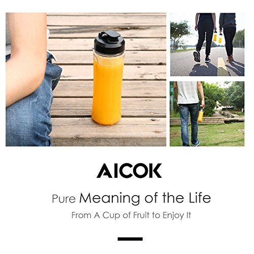 Aicok Mini Batidora Individual, Portátil Batidora de vaso 600ml, para Smoothies, Zumos de Fruta y Verdura, Milkshake, 300W,