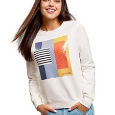 oodji Ultra Mujer Suéter de Algodón con Estampado y Moda mujer