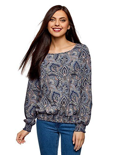 oodji Collection Mujer Blusa Estampada con Cuello Barco Moda mujer