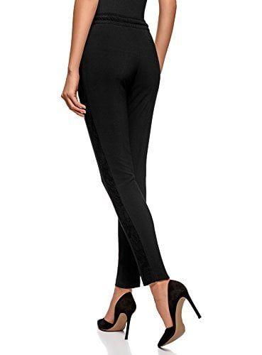 oodji Ultra Mujer Pantalones con Cinturón Elástico con