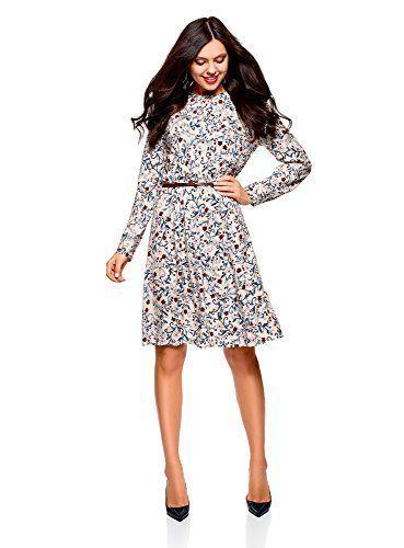 oodji Collection Mujer Vestido de Viscosa con Cinturón Moda mujer