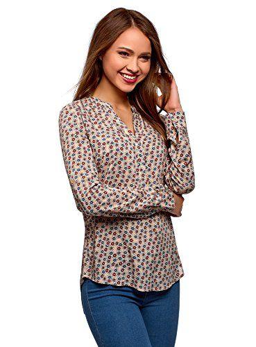 oodji Collection Mujer Blusa Recta de Viscosa Moda mujer