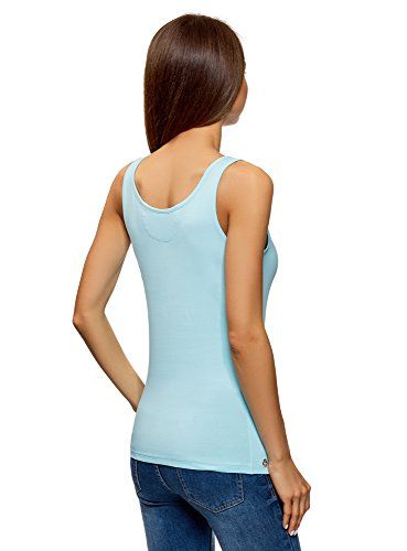 oodji Ultra Mujer Camiseta de Tirantes sin Etiqueta de