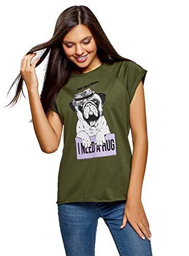 oodji Ultra Mujer Camiseta de Algodón con Estampado Moda mujer