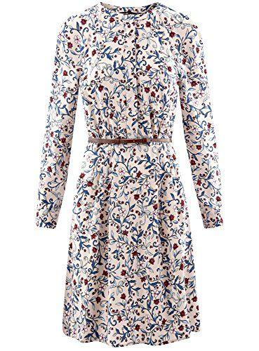 oodji Collection Mujer Vestido de Viscosa con Cinturón