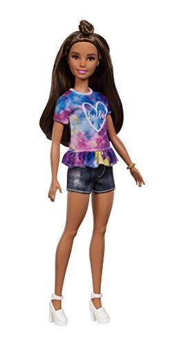 Barbie Fashionista – Muñeca morena con moño y shorts Barbie