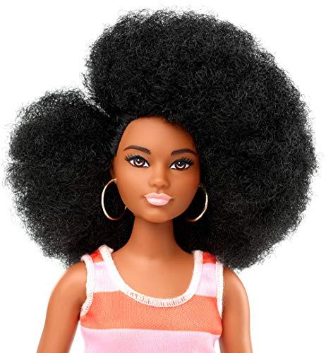 Barbie Fashionista – Muñeca afro con vestido a rayas