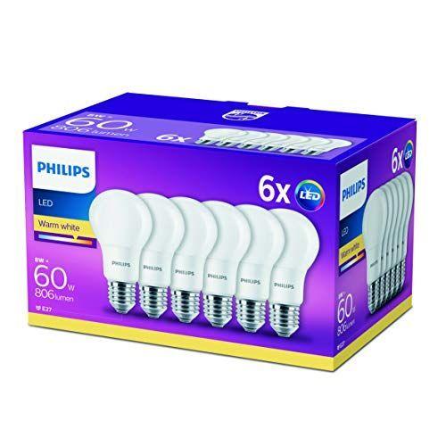 Philips – Pack de 6 Bombillas LED Esférica Casquillo E27, 8 W, Equivalente a 60 W, Luz Blanca Iluminación LED