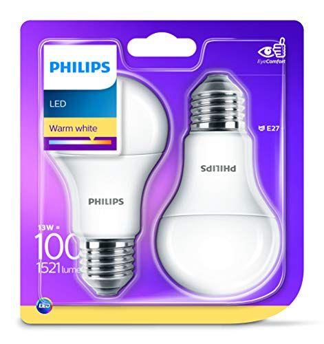 Philips Lighting Bombilla LED E27, pack 2 unidades, luz blanca cálida 13 W Iluminación LED