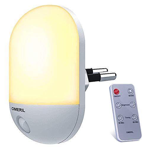 Luz Nocturna Infantil OMERIL Luz Quitamiedos con Control Remoto, Función de Temporización y 3 Iluminación LED