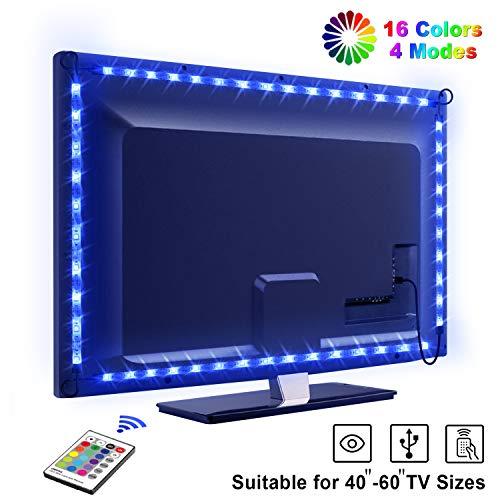 Tira LED TV 2.2M, OMERIL 5050 Tiras LED USB Impermeable con Control Remoto, 16 RGB Colores y 4 Iluminación LED