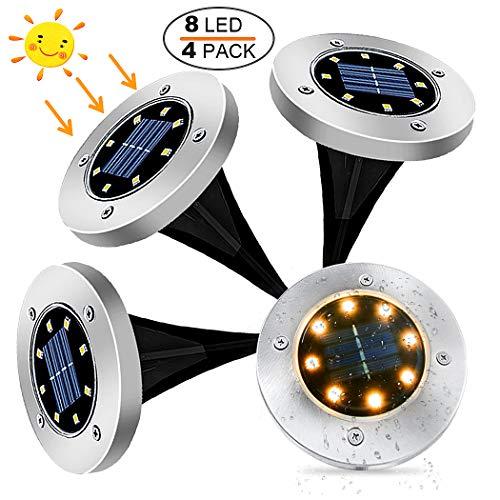 Luces Solares para Exterior Jardin 8 leds, 4Pcs 100LM Luz Cálida IP65 Focos led Exterior Solar Iluminación LED