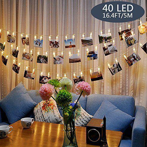 Tomshine Clip Cadena de Luces LED, 40LEDs 5m Fotoclips Guirnalda de Luces para Decoración de Fotos Iluminación LED