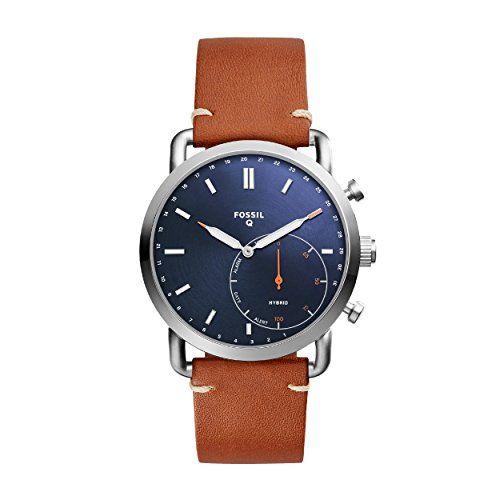 Fossil Reloj Analogico para Hombre de Cuarzo con Correa en Cuero FTW1151 Smartwatches