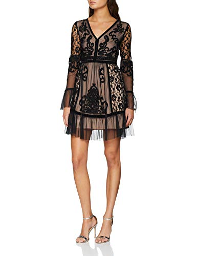 Frock and Frill Embroidered Dress with Frill Hem and Sleeve Vestido de Fiesta para Mujer Vestidos Frock And Frill