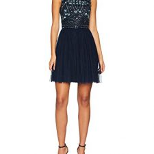 Frock and Frill Embellished High Neck Skater Dress, Vestido de Fiesta para Mujer Vestidos Frock And Frill