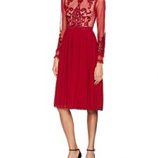 Frock and Frill Embroidered High Neck Midi Dress with Pleated Skirt Vestido de Fiesta para Mujer Vestidos Frock And Frill