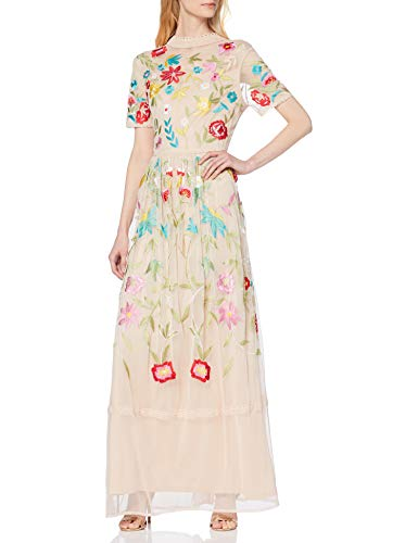 Frock and Frill Filomena Embroidered Maxi with High Neck Vestido Fiesta Mujer para Vestidos Frock And Frill
