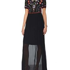 Frock and Frill Embellished Bodice Maxi Dress with Short Sleeves, Vestido de Fiesta para Mujer Vestidos Frock And Frill