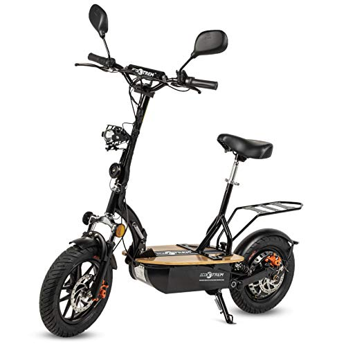 ECOXTREM Patinete/Scooter eléctrico Dos Ruedas con sillín Desmontable, Plegable y luz LED Frontal. Patinetes Eléctricos