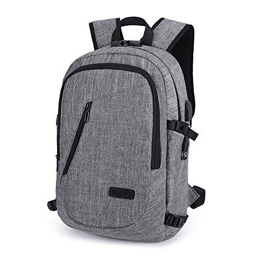 WAWJ Mochila antirrobo Impermeable, Mochila para Portátil Multiusos Daypacks con Puerto de Carga Accesorios informática